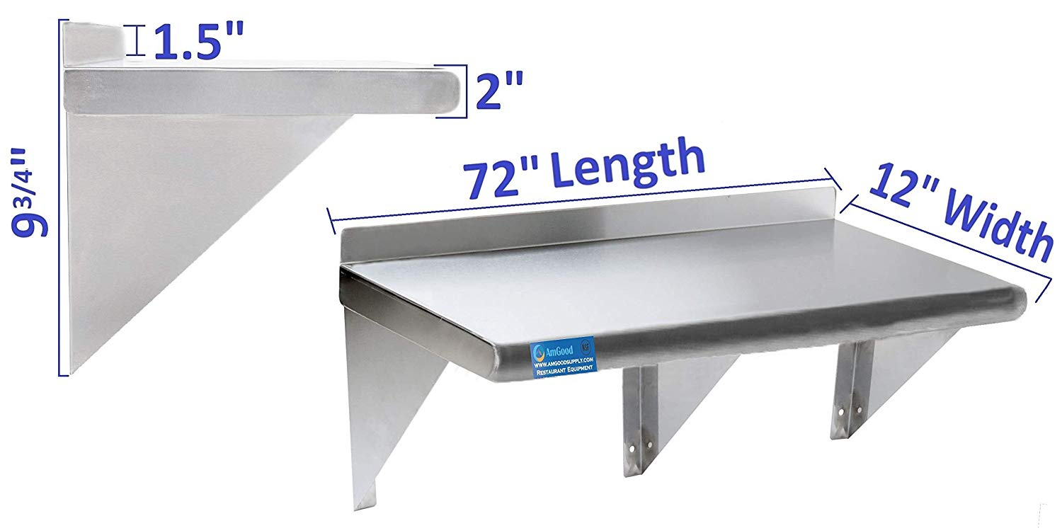 "12"" X 72"" Stainless Steel Wall Mount Shelf - AmGoodSupply.com"