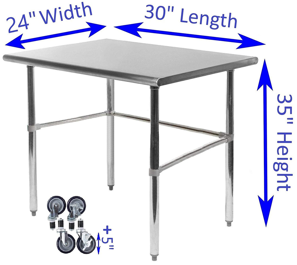 "24"" X 30"" Stainless Steel Work Table With Open Base & Casters"