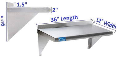 "12"" X 36"" Stainless Steel Wall Mount Shelf - AmGoodSupply.com"