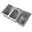"10"" x 14"" x 10"" Stainless Steel 3 Compartment Drop in Sink With Faucet"