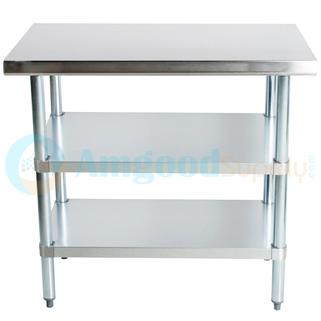 "30"" X 36"" Stainless Steel Work Table With 2 Undershelf"