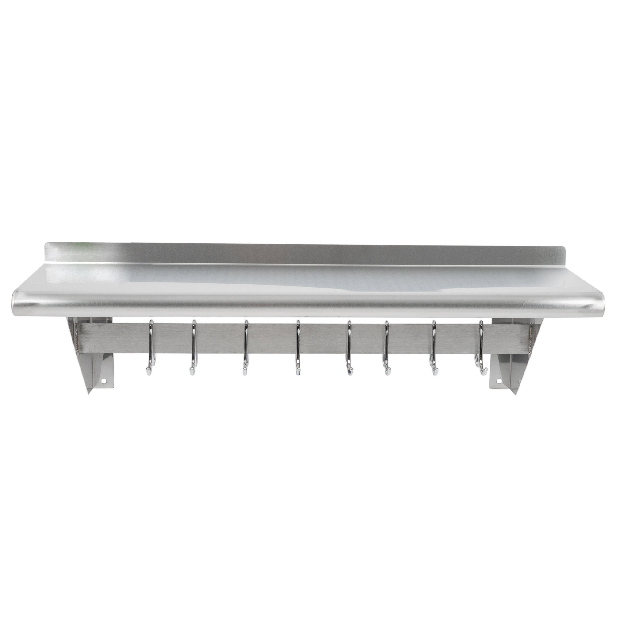 "12"" x 36"" Stainless Steel Wall Mounted Pot Rack with Shelf and 18 Galvanized Hooks - AmGoodSupply.com"