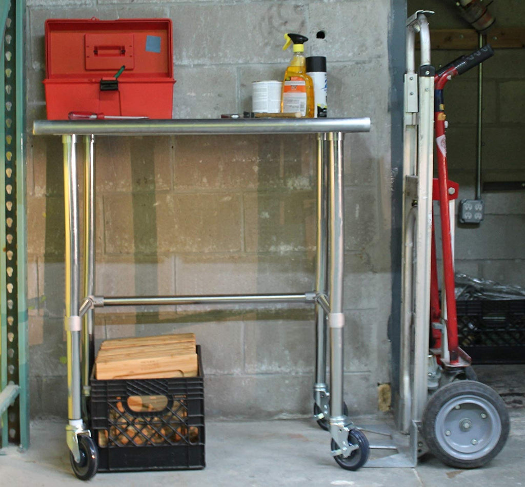 "30"" X 48"" Stainless Steel Work Table With Open Base & Casters - AmGoodSupply.com"