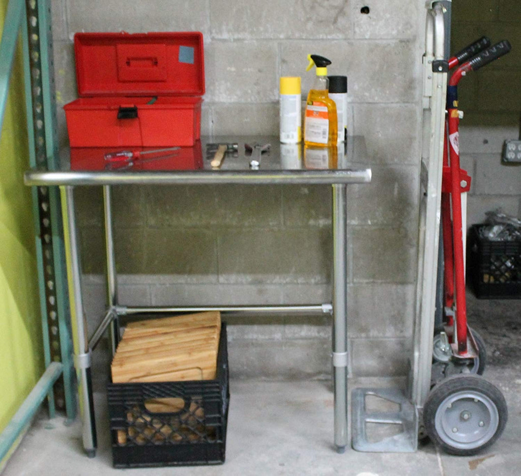 "18"" X 24"" Stainless Steel Work Table With Open Base - AmGoodSupply.com"