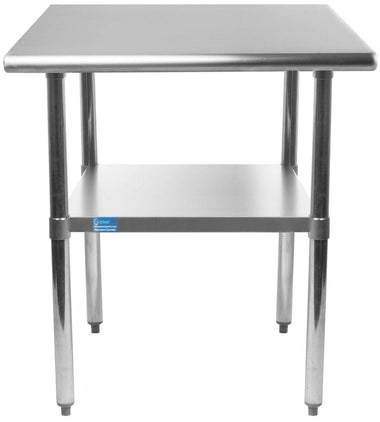 "14"" X 24"" Stainless Steel Work Table With Galvanized Undershelf - AmGoodSupply.com"