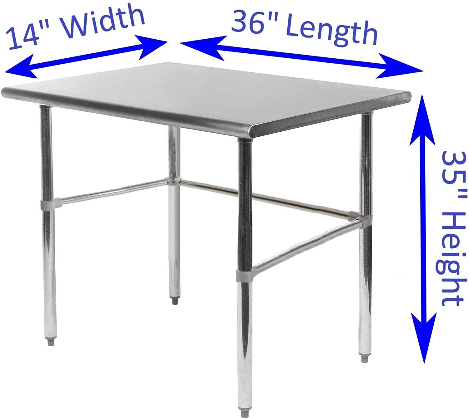 "14"" X 36"" Stainless Steel Work Table With Open Base - AmGoodSupply.com"