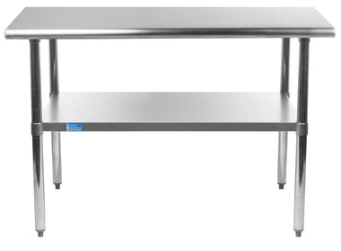"14"" X 36"" Stainless Steel Work Table With Galvanized Undershelf - AmGoodSupply.com"