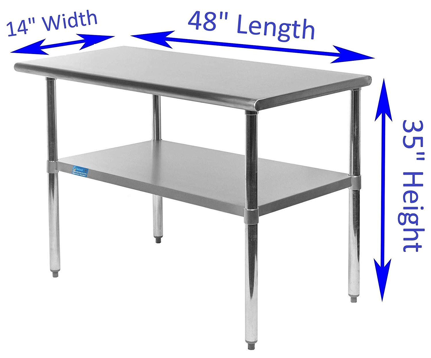 "14"" X 48"" Stainless Steel Work Table With Galvanized Undershelf - AmGoodSupply.com"