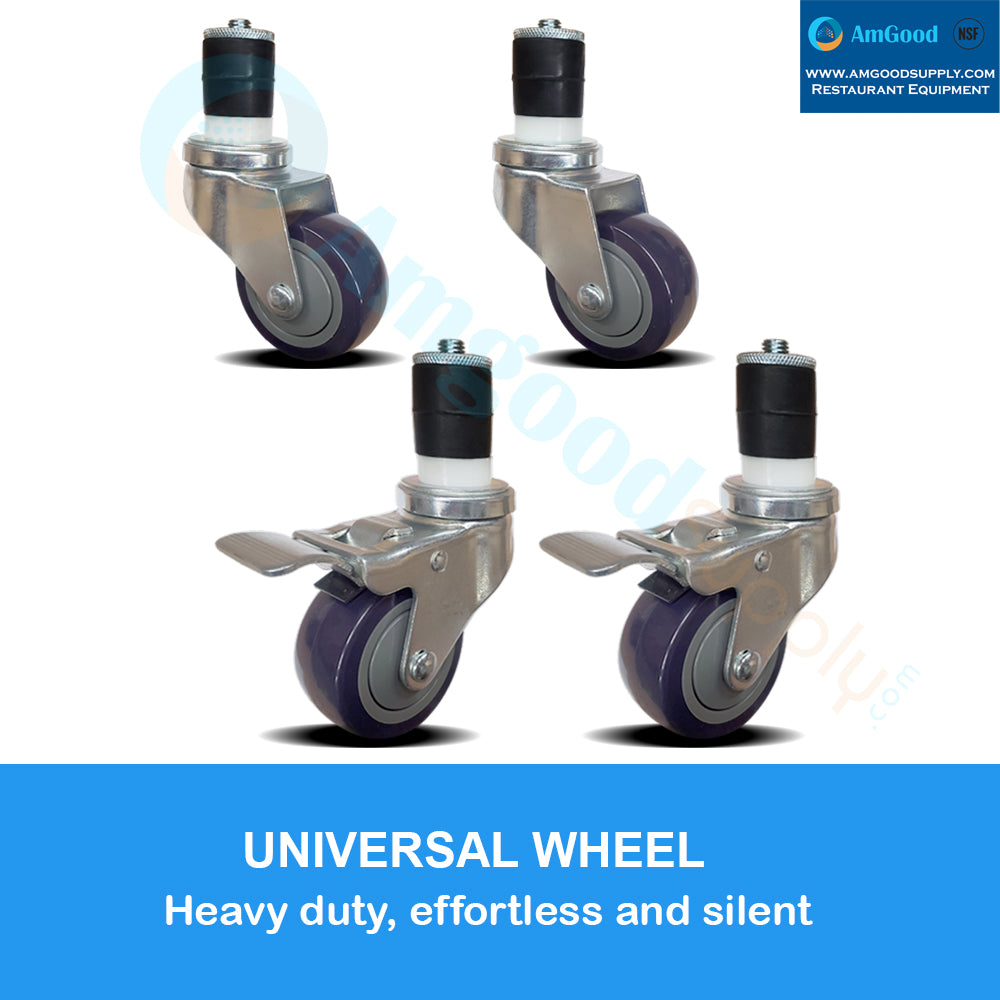 "Casters 3"" 2 with Brakes / 2 without Brakes (set of 4) - AmGoodSupply.com"