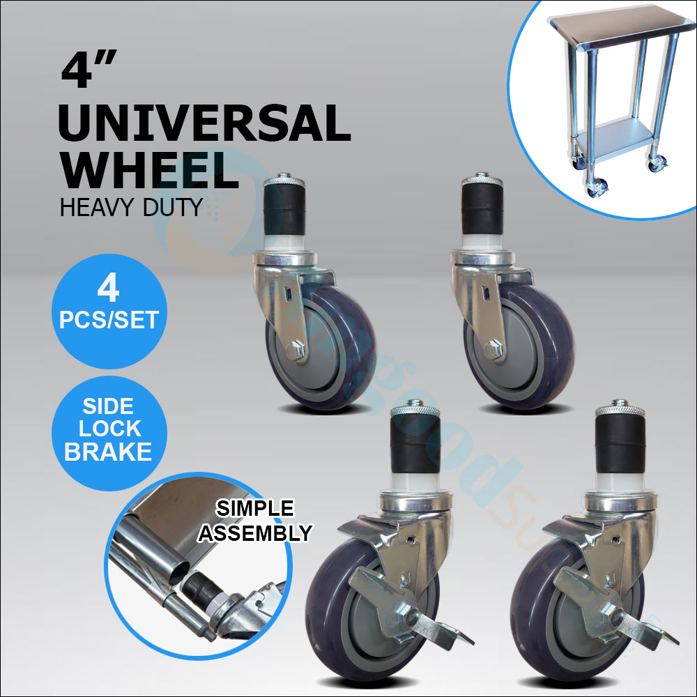"Casters 4"" 2 with Brakes / 2 without Brakes (set of 4) - AmGoodSupply.com"