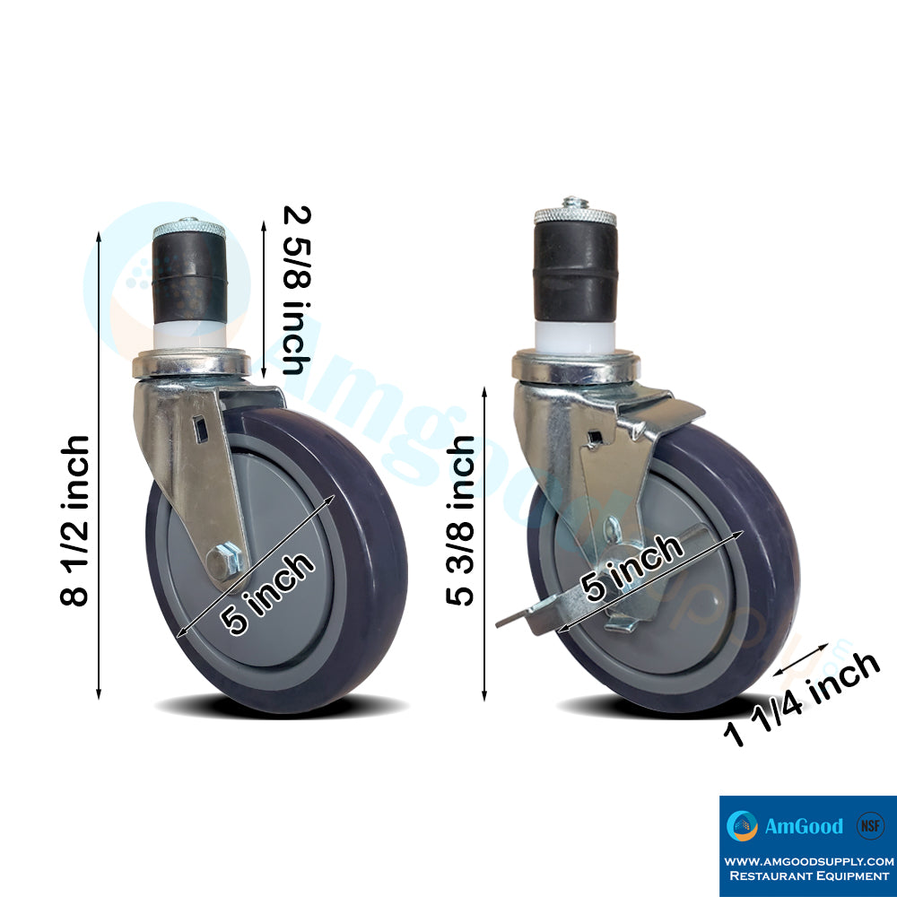 "Casters 5"" 2 with Brakes / 2 without Brakes (set of 4) - AmGoodSupply.com"