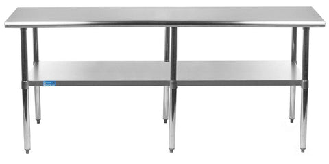 "14"" X 84"" Stainless Steel Work Table With Galvanized Undershelf"