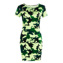 Load image into Gallery viewer, 2019 New Summer Fashion Women Sexy Tank Dress Slim Casual Camouflage Military O-Neck Print Splice Empire Mini Dresses Vestidos