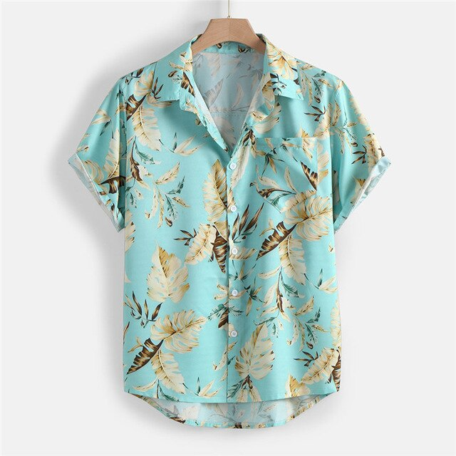 Mens Holiday Style Short Sleeve Shirts 2020 Summer Leaf Printing Hawaiian Beach Casual Male Shirt Blouse Loose Fit FM050
