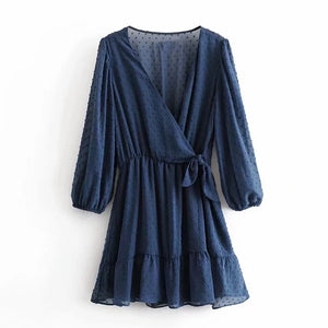 Summer 2020 Boho Chiffon Mini Dress. 3qt Sleeve.