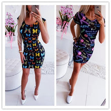 Load image into Gallery viewer, New Arrival 2019 Summer Dresses Sexy Slim Bodycon Pencil Mini Party Dresses Women Short Sleeve Letter Butterfly 3D Printed Dress