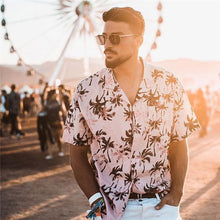 Load image into Gallery viewer, 2020 Summer Mens Holiday Style Short Sleeve Shirts Coconut Tree Printing Hawaiian Beach Casual Men Shirt Blouse Loose Fit FM052