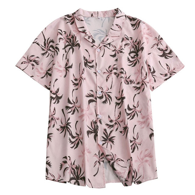 2020 Summer Mens Holiday Style Short Sleeve Shirts Coconut Tree Printing Hawaiian Beach Casual Men Shirt Blouse Loose Fit FM052
