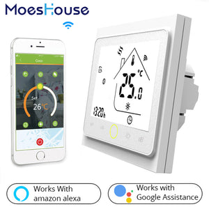 Smart Thermostat works with iPhone app. Works with Alexa and Google Home.