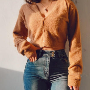 Kath Two-Piece Furry Sweater Top Set in Brown*