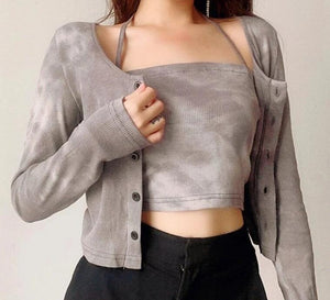 Edna Two-piece Ribbon Tie Top + Long Sleeve Top Set in Washed Grey*