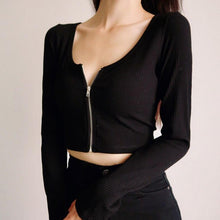 Load image into Gallery viewer, Heather Zip Up Long Sleeve Top *