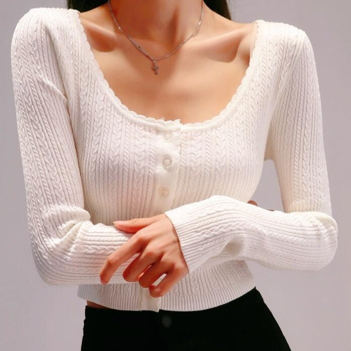 Diana Long Sleeve Top in White *