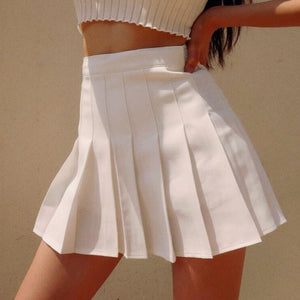 Summer High Waisted Pleated Skorts in White