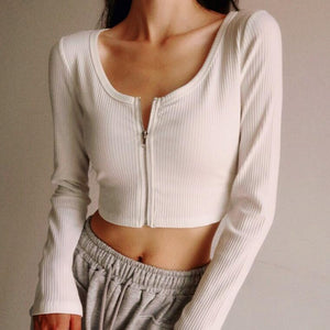 Heather Zip Up Long Sleeve Top *