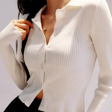 Load image into Gallery viewer, Jamie Collared Long Sleeve Top in White *