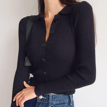 Load image into Gallery viewer, Jamie Collared Long Sleeve Top in Black *