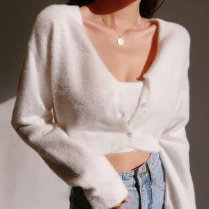 Kath Two-Piece Furry Sweater Top Set in White*