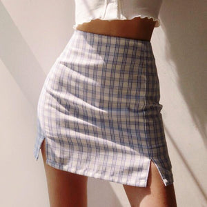 Josie High Waist Plaid Skirt in White