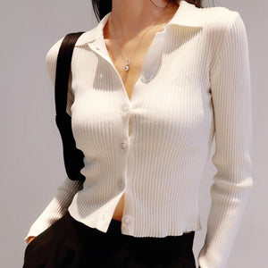 Jamie Collared Long Sleeve Top in White *