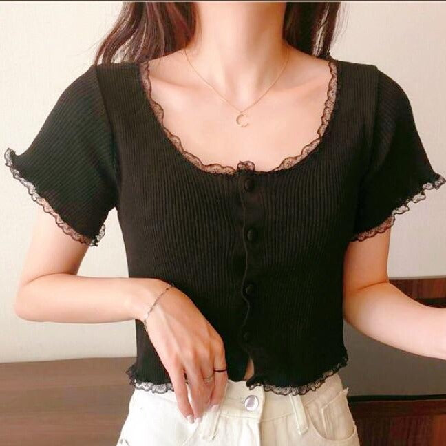 Gem Lace Top in Black*