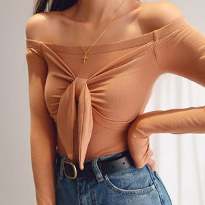 Aurelia Bow Off Shoulder Long Sleeve Top in Brown *