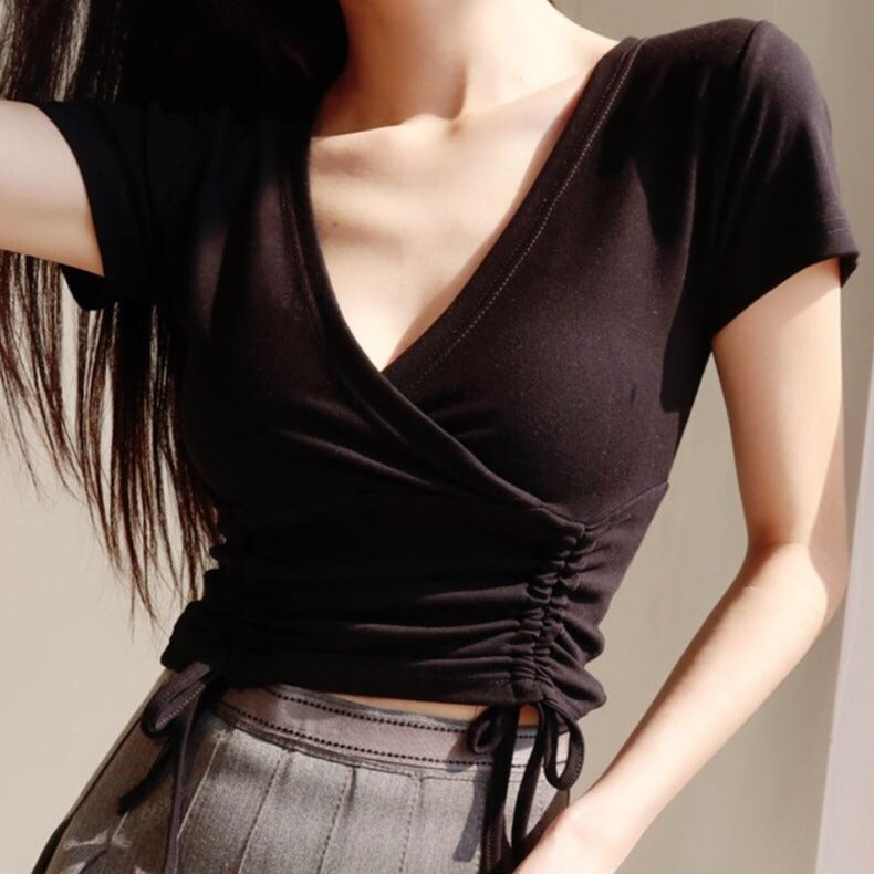 Fiela Ruched Top in Black *