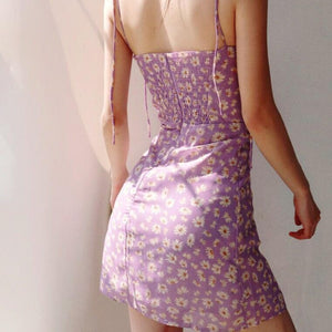 Brenda Floral Dress in Lilac