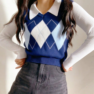 Kourt Checkered Vest in Blue *