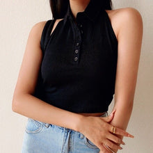 Load image into Gallery viewer, Suzy Halter Polo Tee in Black