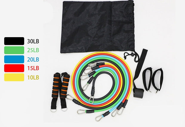 11 PCS FITNESS RESISTANCE BAND SET