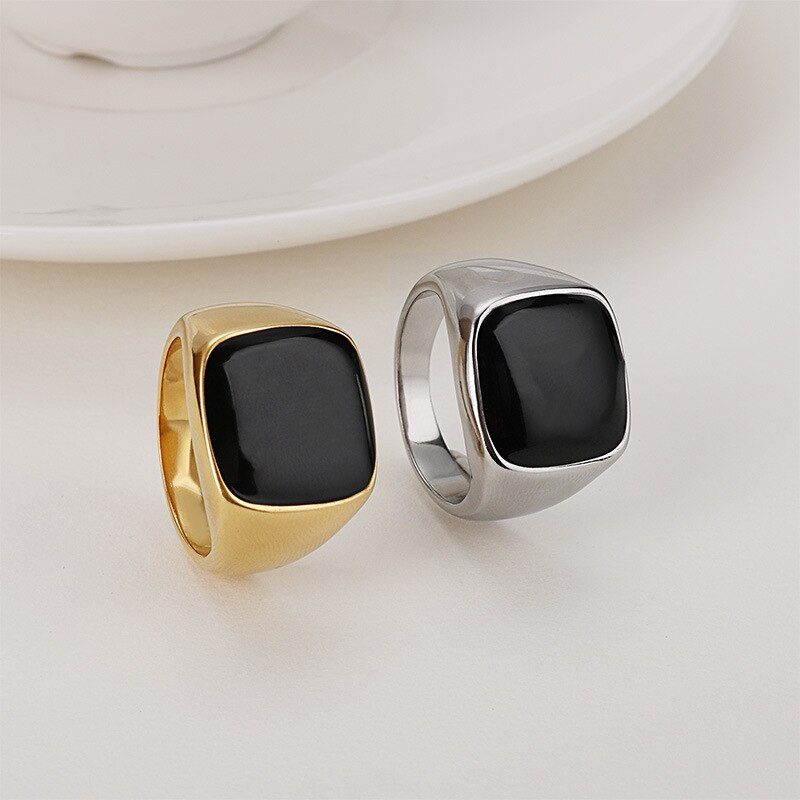 Square Onyx Stone Ring