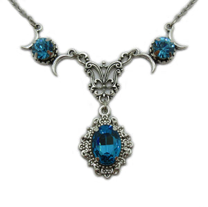 Triple Moon Goddess Filigree Necklace