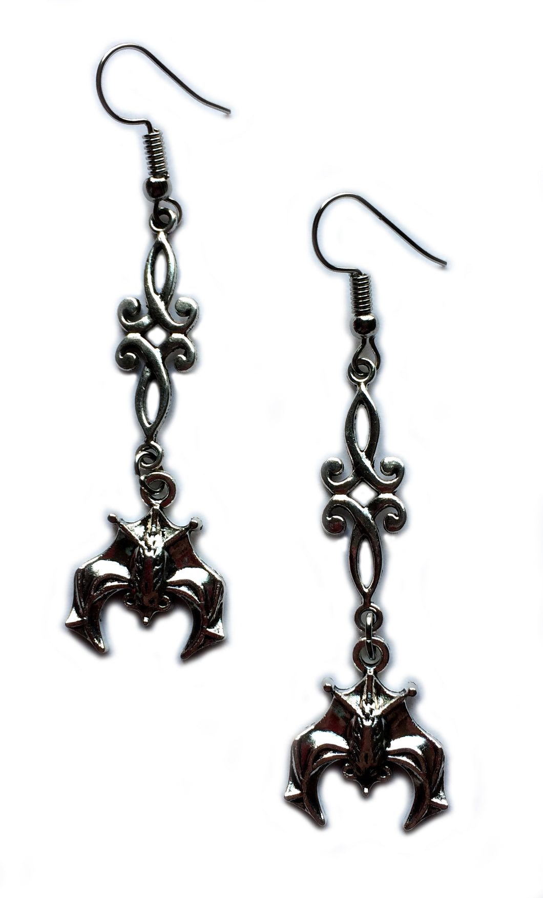 Bat Scroll Earrings