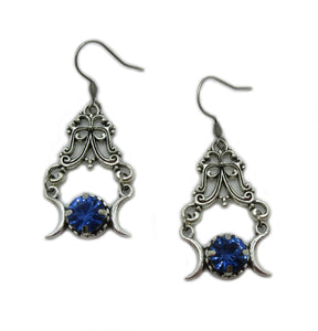 Triple Moon Goddess Filigree Earrings