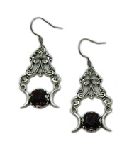 Load image into Gallery viewer, Triple Moon Goddess Filigree Earrings