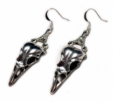 Gothic Filigree Raven Skull Earrings
