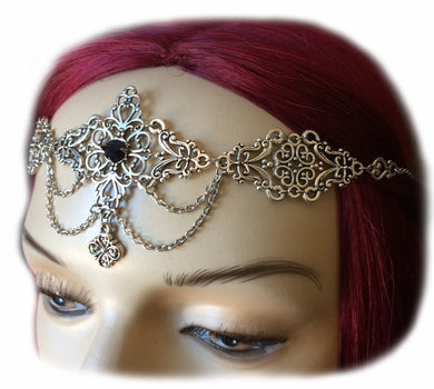 Dramatic Filigree Draping Chain Headpiece