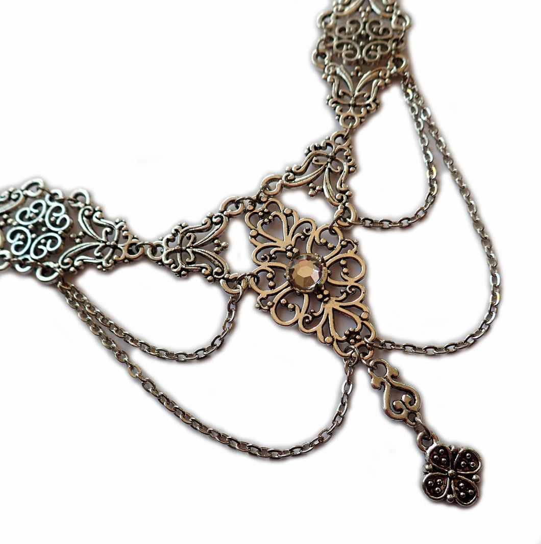 Dramatic Filigree Draping Chain Necklace