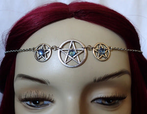 Triple Pentacle Priestess Ritual Headpiece